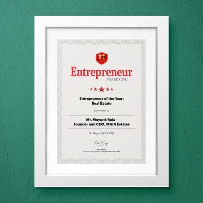 Entrepreneur India – Entrepreneur of year: Real Estate